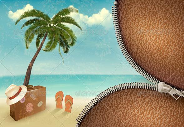 Vintage Seaside Background - Travel Conceptual
