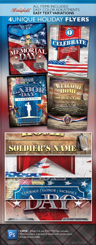 Vintage Patriotic Military Holiday Flyer Bundle - Print Templates