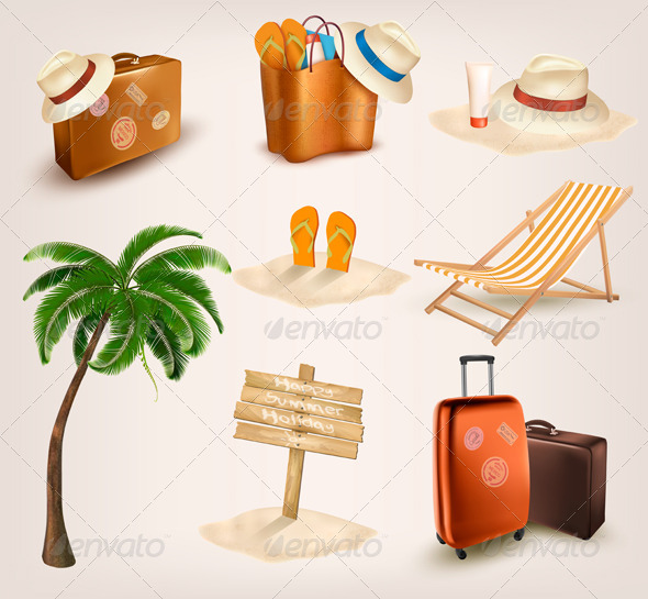 Set of Vacation Related Icons - Travel Conceptual