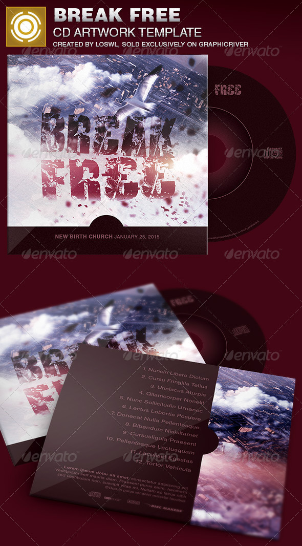 Break Free CD Artwork Template - CD & DVD Artwork Print Templates