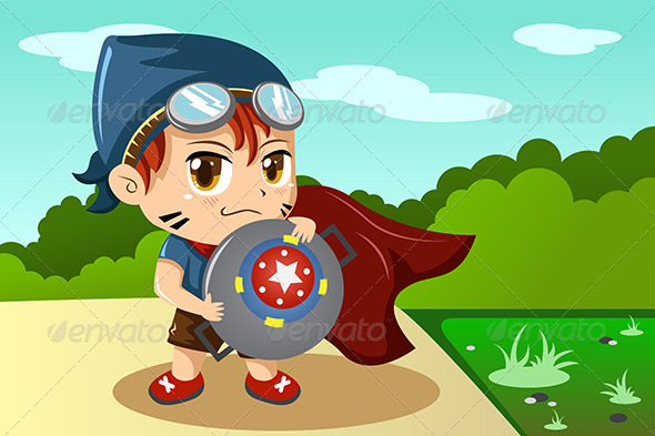 Boy in Superhero Costume - People Characters