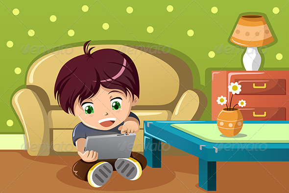 Boy Using a Tablet PC - People Characters