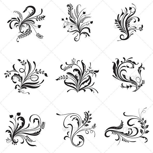 Flower Ornaments - Flourishes / Swirls Decorative