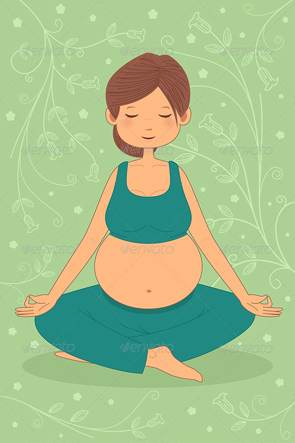 Pregnant Woman Doing Yoga Exercise - Sports/Activity Conceptual