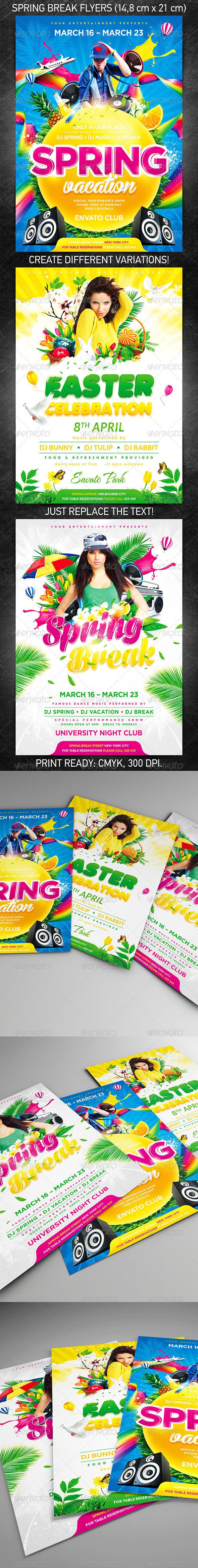 Spring Break Party Flyer Bundle - Holidays Events