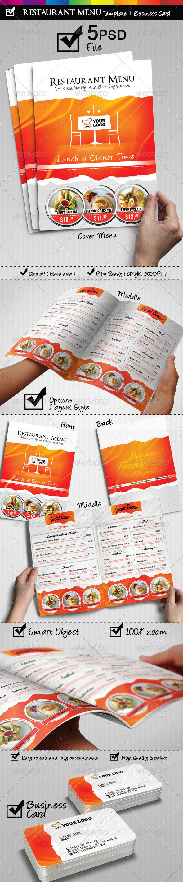 Restaurant Menu With Business Card Included - Food Menus Print Templates