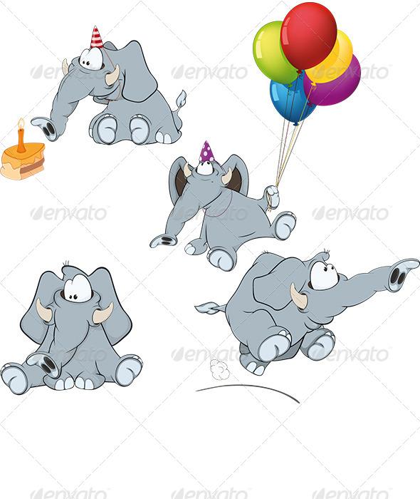 Set of Elephant Cartoon - Animals Characters