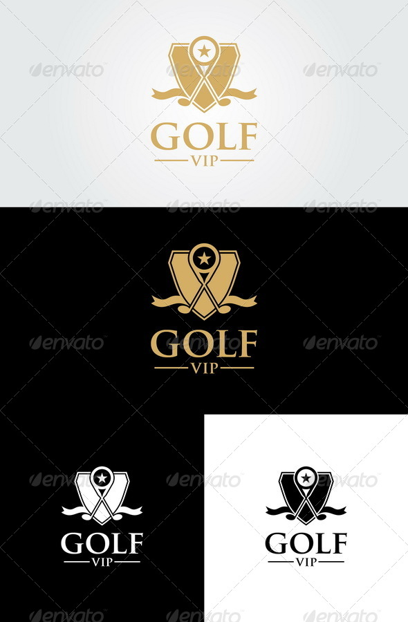 Golf Vip Logo Template   - Crests Logo Templates