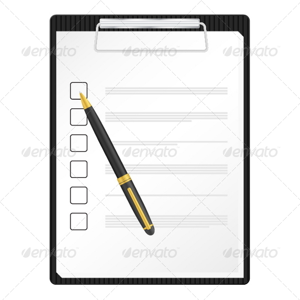 Clipboard and Pen - Objects Vectors