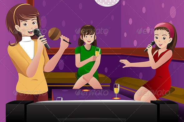 Female Friends Singing Karaoke - People Characters