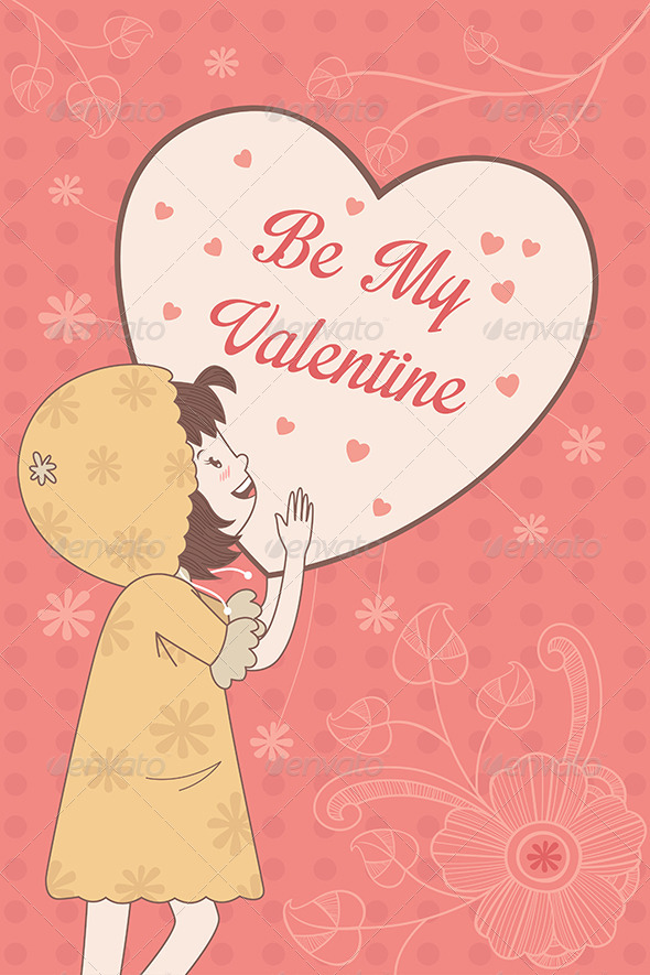 Valentine Card with Be My Valentine Words - Valentines Seasons/Holidays