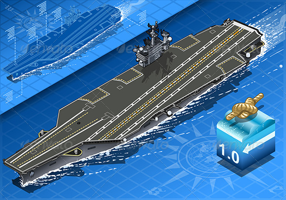 Isometric Aircraft Carrier in Navigation in Front - Objects Vectors