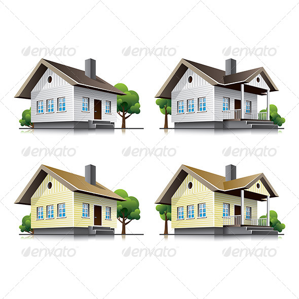 Family Houses Cartoon Icons - Buildings Objects