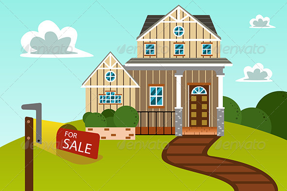 Modern Home with for Sale Sign - Buildings Objects