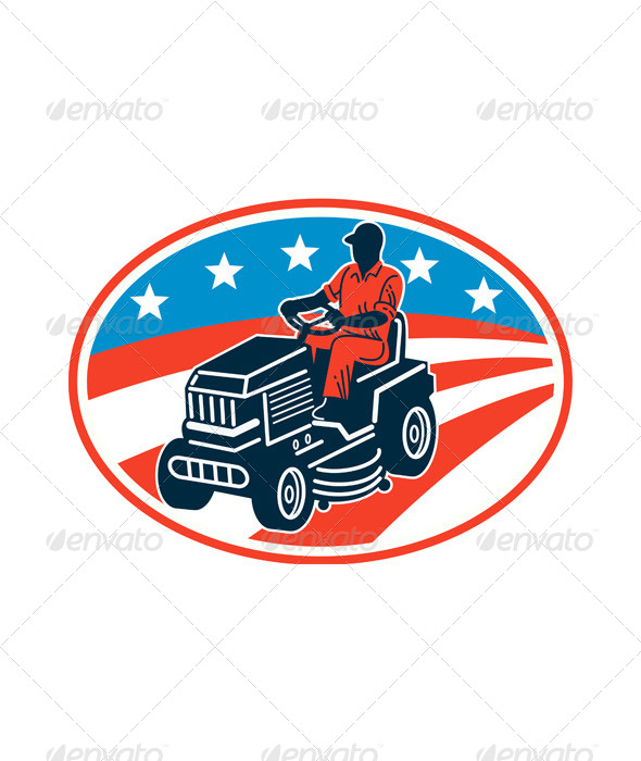 American Gardener Mowing Lawn Mower Retro - People Characters