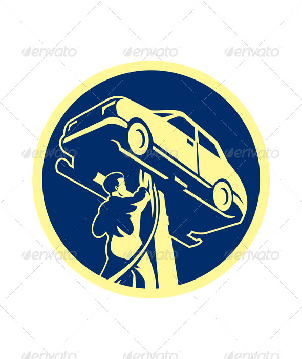Auto Mechanic Automobile Car Repair Retro - People Characters