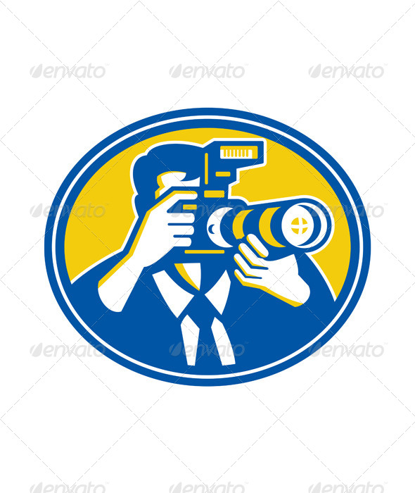 Photographer Shooting DSLR Camera Retro - People Characters
