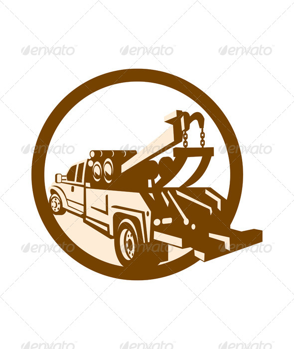 Tow Truck Wrecker Rear Retro - Travel Conceptual