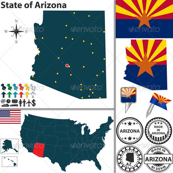 Map of State Arizona, USA - Travel Conceptual