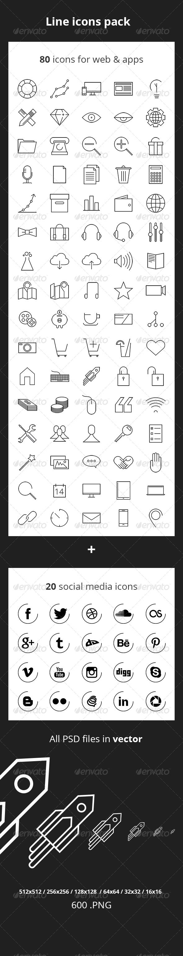 80 Line Icons  - Web Icons