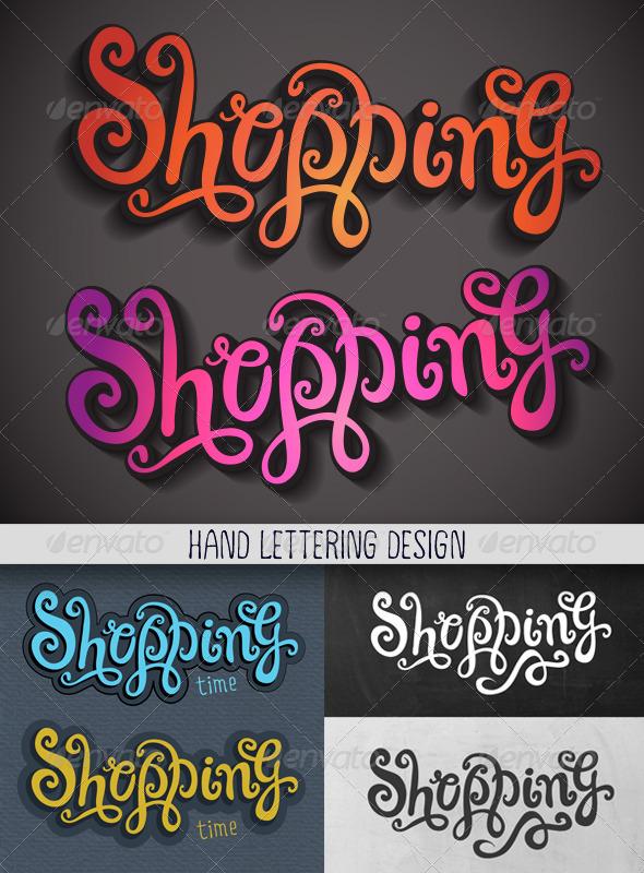 Shopping Hand Lettering Set - Decorative Vectors