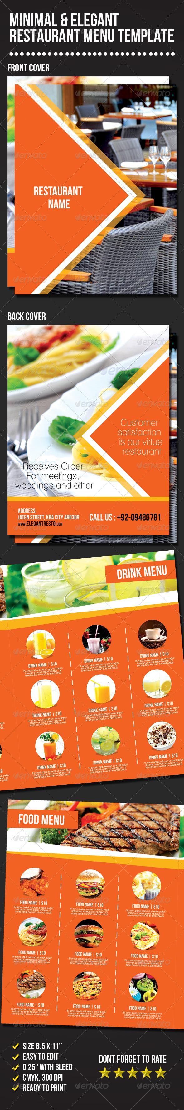 Minimal & Elegant Restaurant Menu Template - Food Menus Print Templates