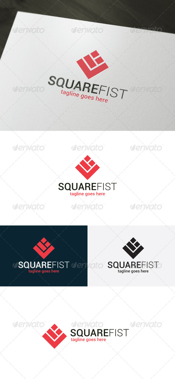 Square Fist Logo - Vector Abstract