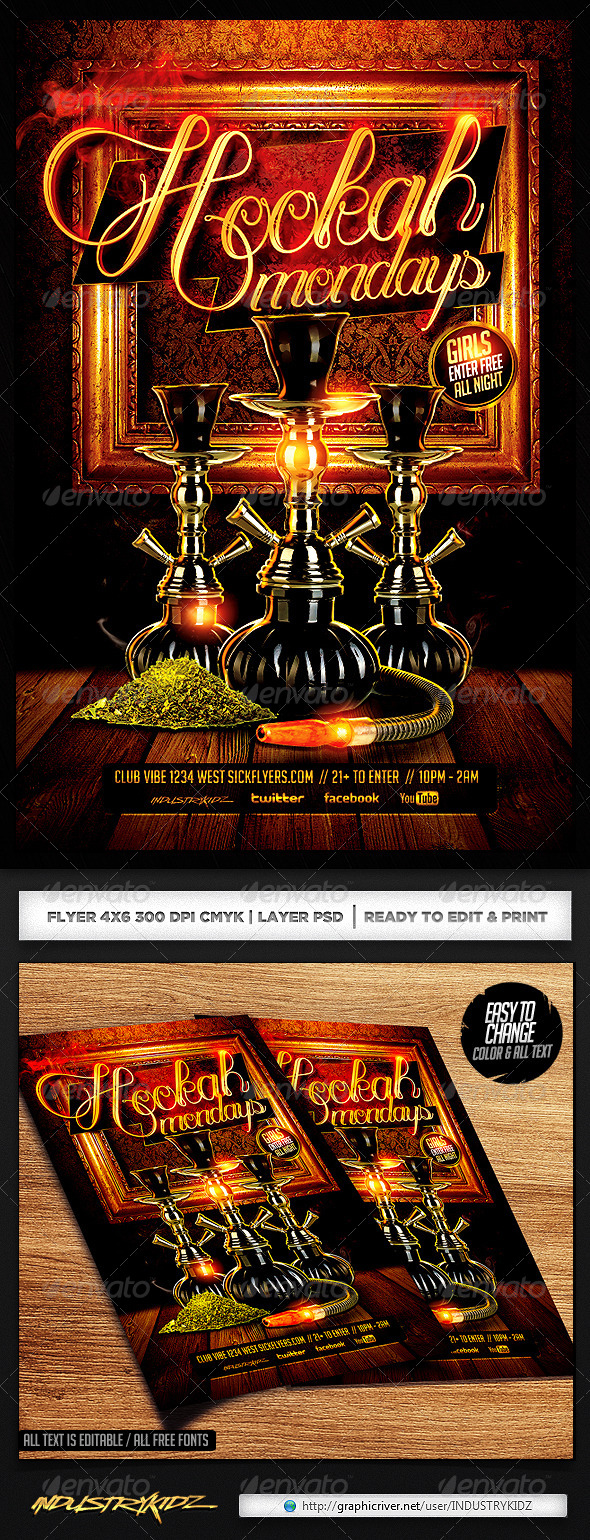 Hookah Flyer Template PSD - Clubs & Parties Events