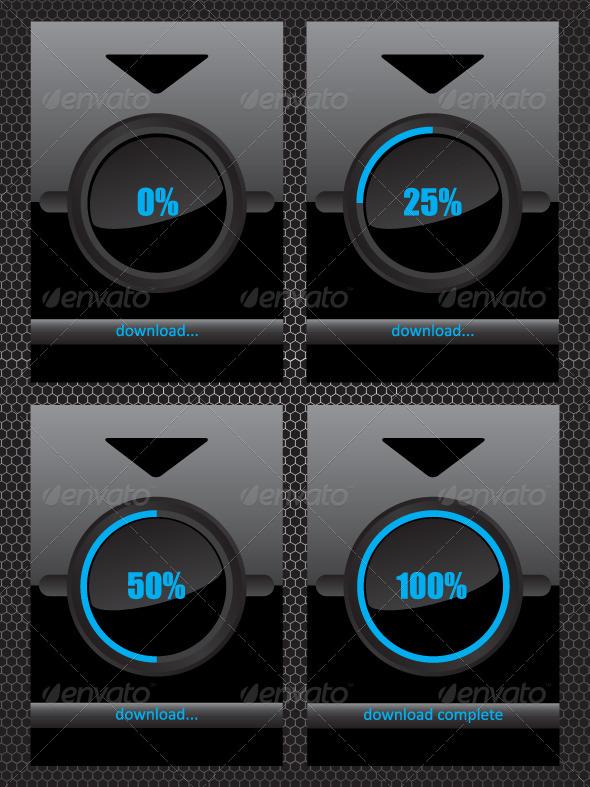 Black Glass Download Progress Bar - Web Elements Vectors