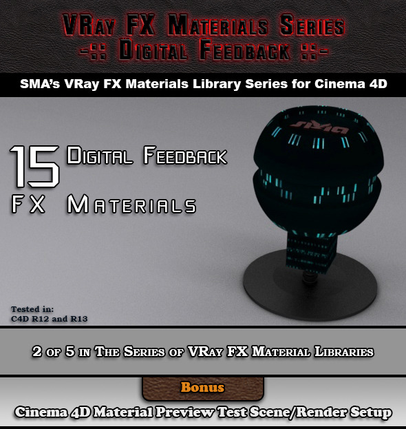 15 VRay FX Digital Feedback Materials Pack C4D - 3DOcean Item for Sale