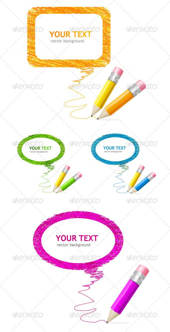 Pencil Speech Bubbles Set - Backgrounds Decorative