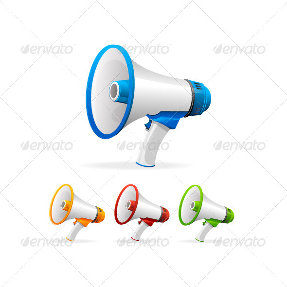 Vector Megaphone Set - Objects Vectors