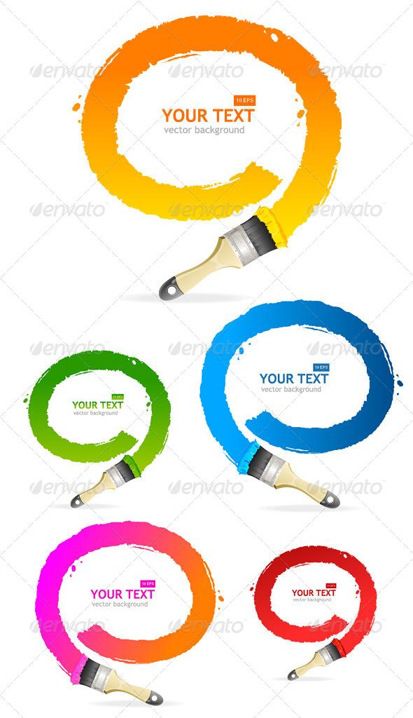 Vector Brush Speech Bubbles Set - Borders Decorative