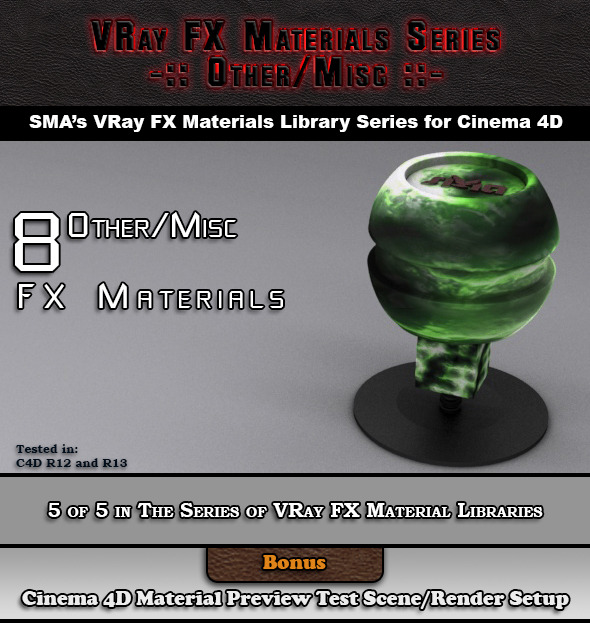 8 VRay FX Other/Misc Materials Pack for Cinema 4D - 3DOcean Item for Sale