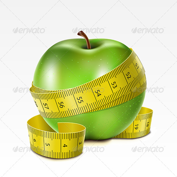Apple with Centimeter - Sports/Activity Conceptual