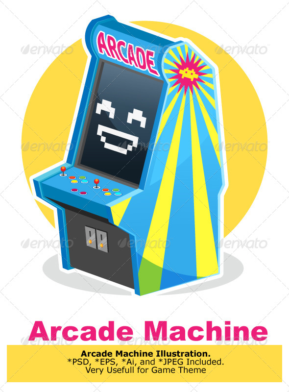 Blue Vintage Arcade Machine Game - Computers Technology