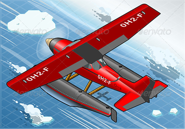 Isometric Arctic Hydroplane in Flight in Rear View - Objects Vectors