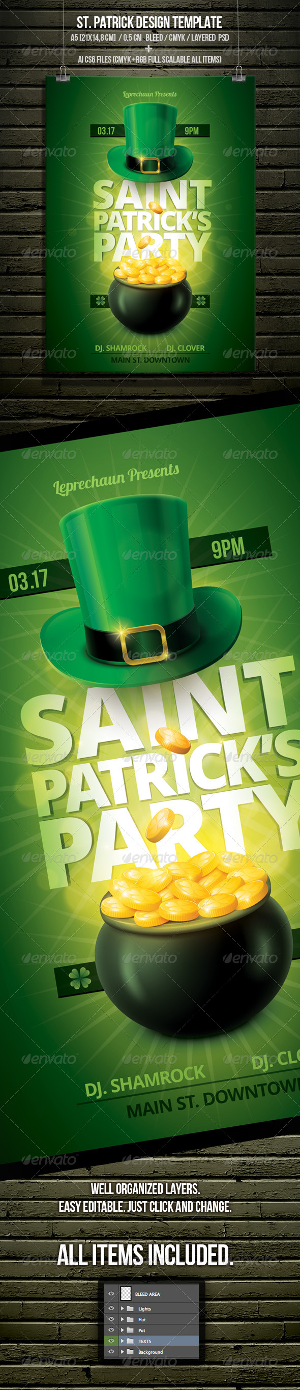 St. Patrick's Day Party Flyer Template - Flyers Print Templates