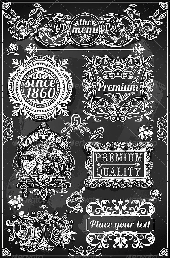Vintage Hand Drawn Banners and Labels on Blackboard - Decorative Vectors