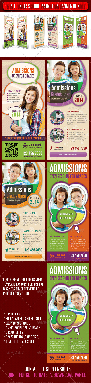 5 in 1 Junior School Promotion Banner Bundle 01 - Signage Print Templates