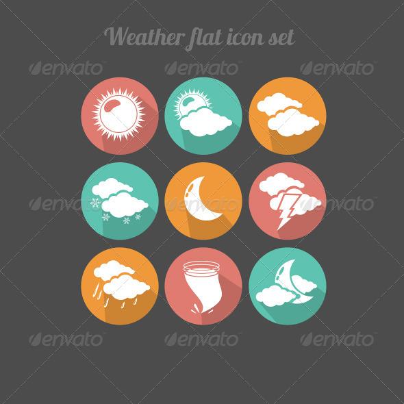 Flat Design Weather Icons  - Seasonal Icons