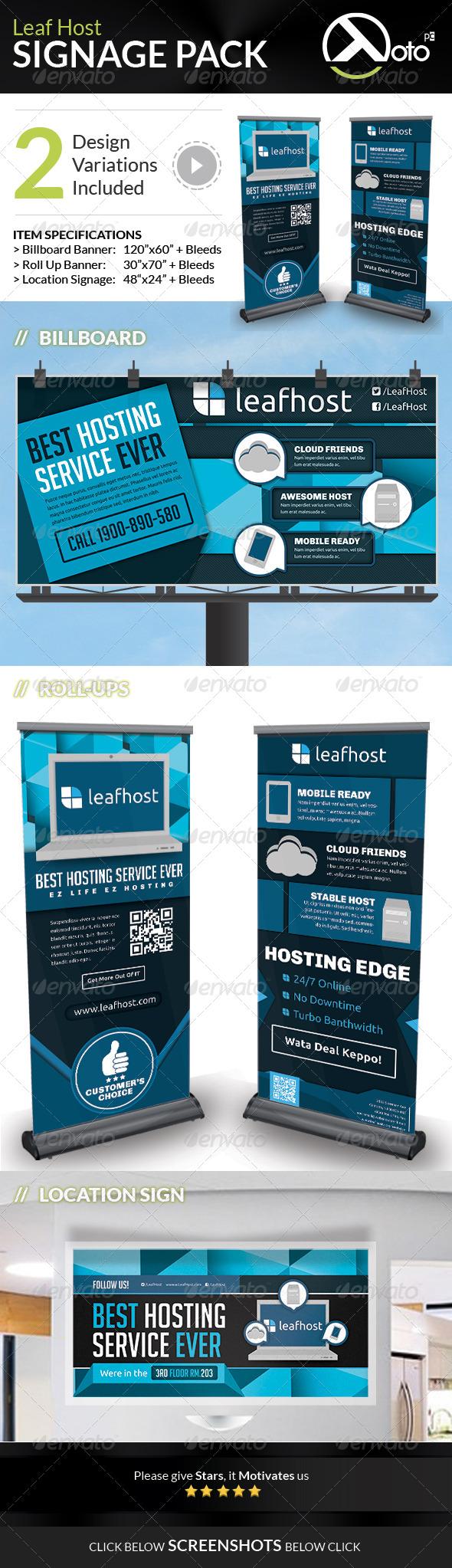 Leaf Host Web Hosting Signage Pack - Signage Print Templates
