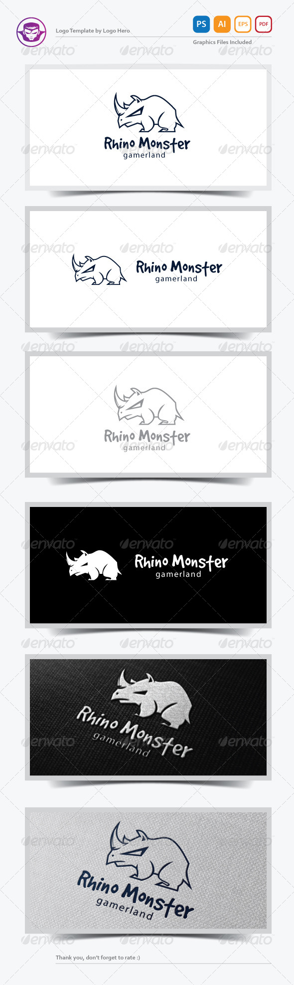 Rhino Monster Logo Template - Animals Logo Templates
