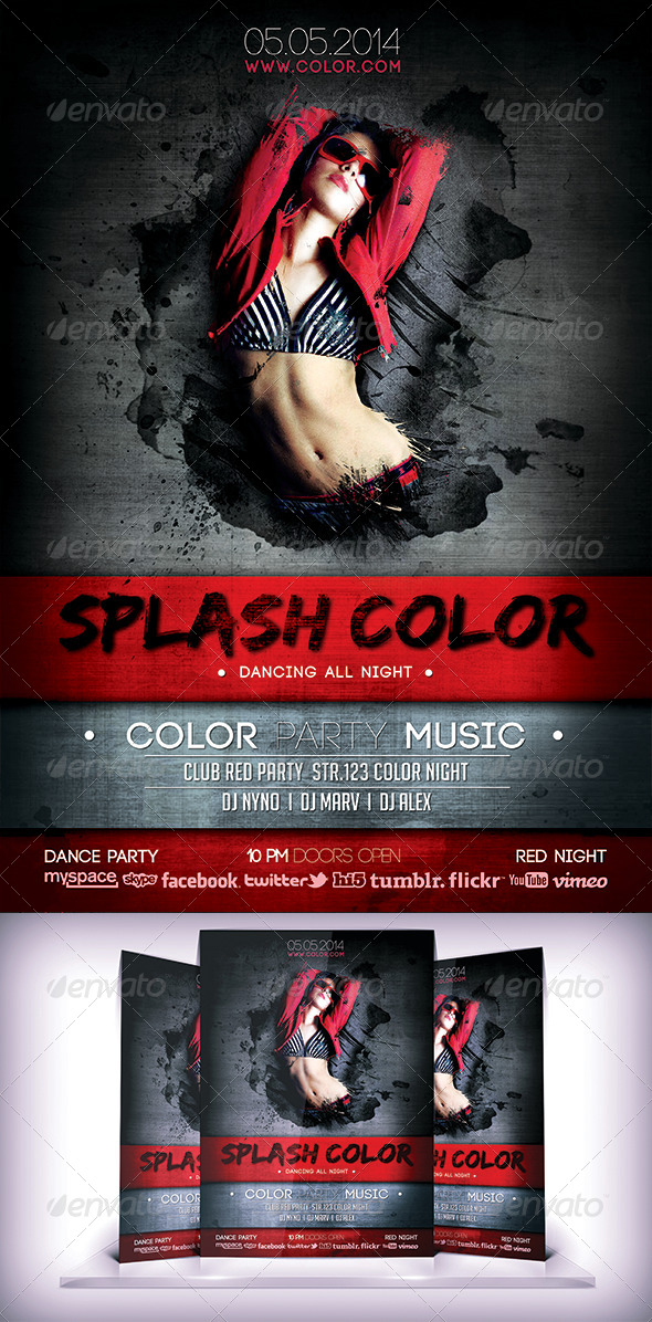 Splash Color Flyer - Flyers Print Templates