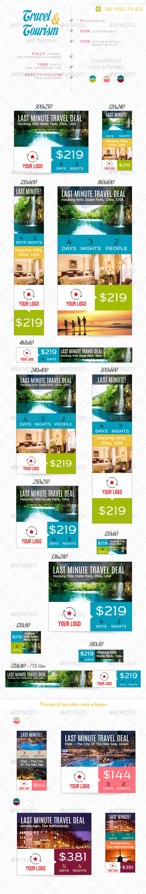 Travel & Tourism Web Banner Set - Banners & Ads Web Elements