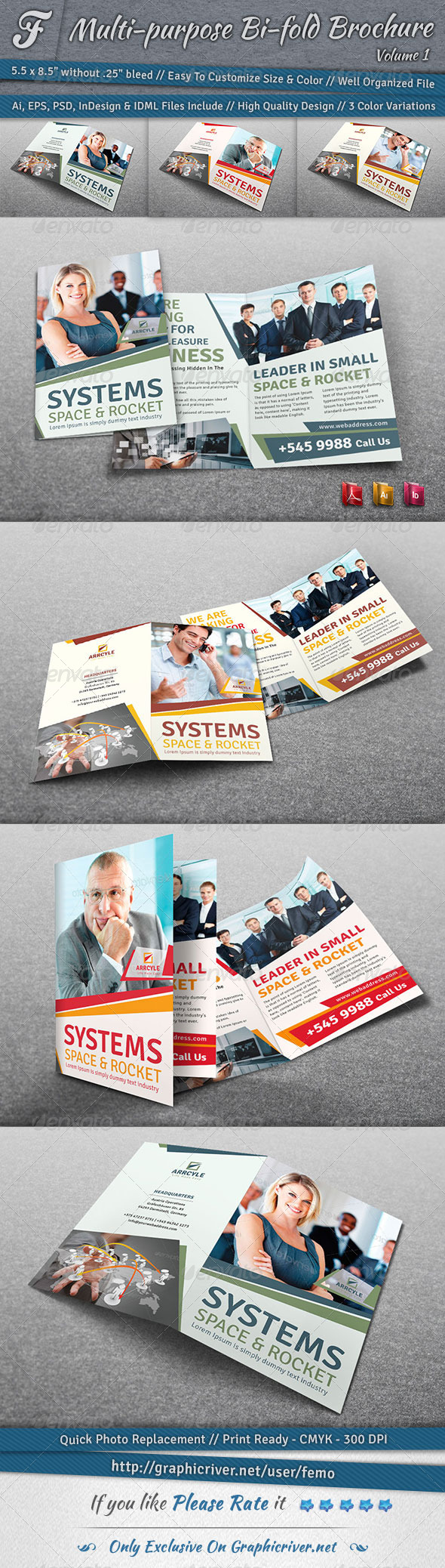 Multi-purpose Bi-fold Brochure | Volume 1 - Corporate Brochures
