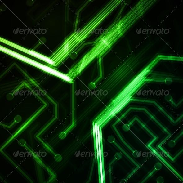 Neon Circuit Board - Abstract Conceptual