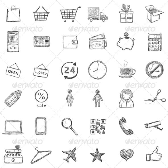 Vector Set Of Sketch Shopping Icons - Miscellaneous Conceptual