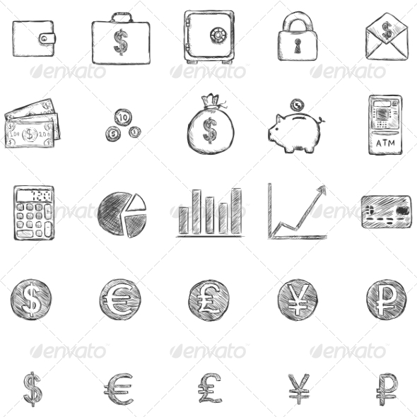Set of Sketch Finance Icons - Concepts Business