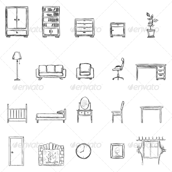 Set of Sketch Furniture Icons - Miscellaneous Conceptual